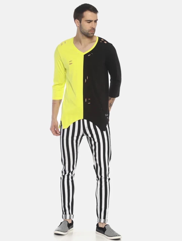 Men's No Wash Printed Stripes Jeans (30,Black & White)
