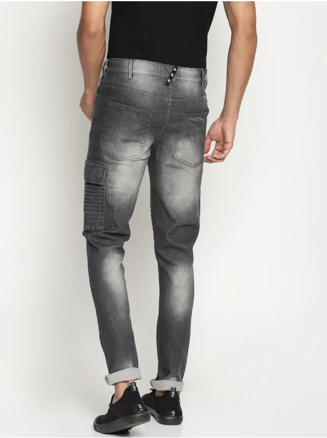 Men's Biker Gray Jeans (34,Gray)