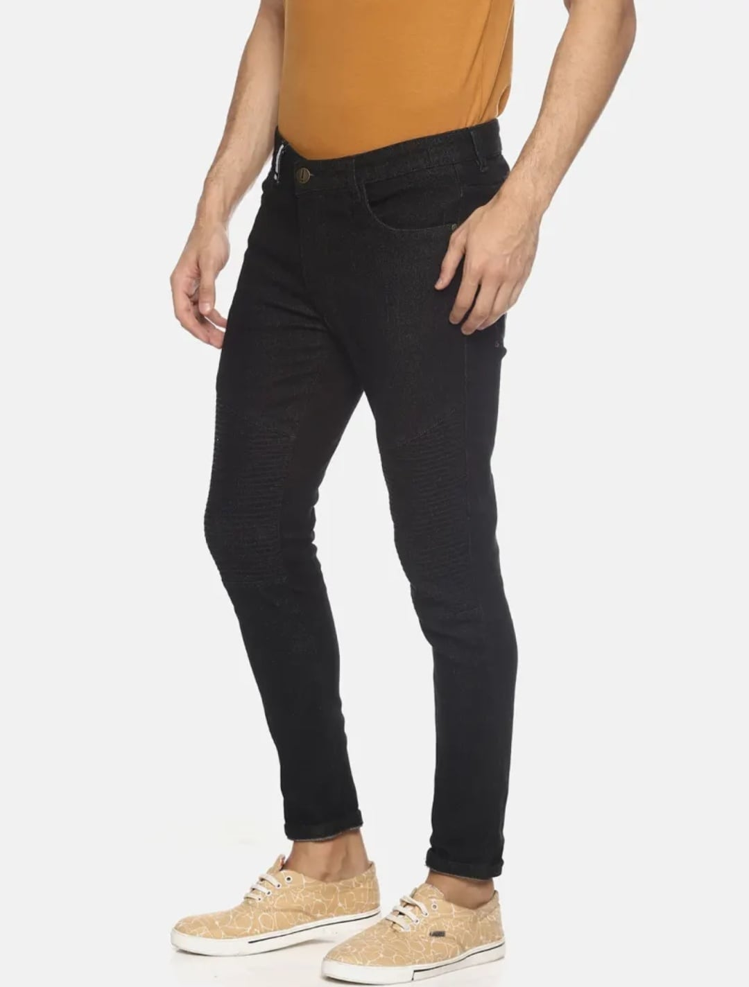 Men's Plain Black Jeans (36,Black)