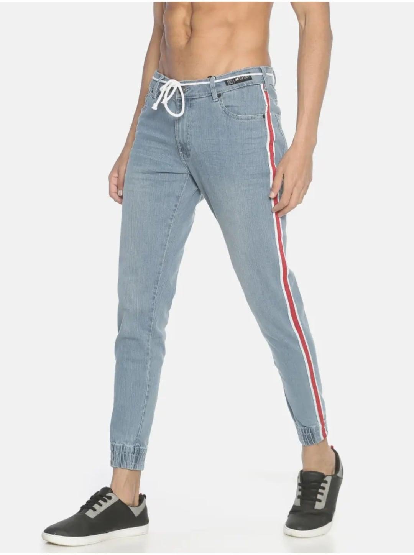 Men's Light Wash Applique Jeans (30,Sky Blue)