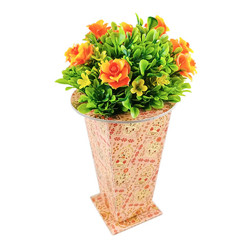 Flower Pot Light Orange Multi Flower Texture