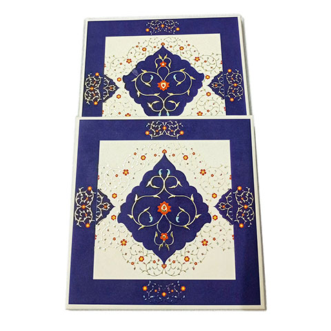 Tea Coaster - Royal Blue Gold With Shine Flower