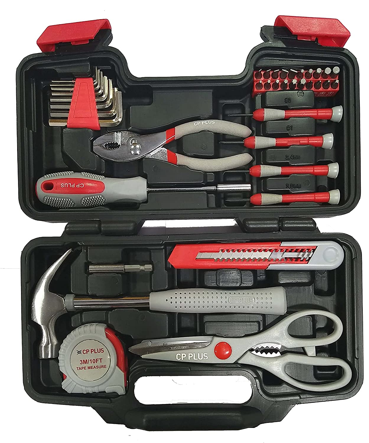 CP Plus CCTV Professional Hand Tool Kit (Red And Black) - 39 Pieces