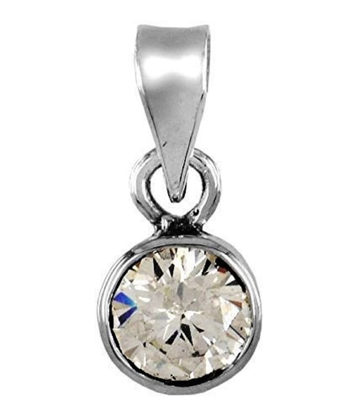 Numeroastro Natural & Original Zircon Crystal Gemstone Pendant In Pure Silver With Lab Certificate (7-7.5 Ct Approx) (1 Pc)
