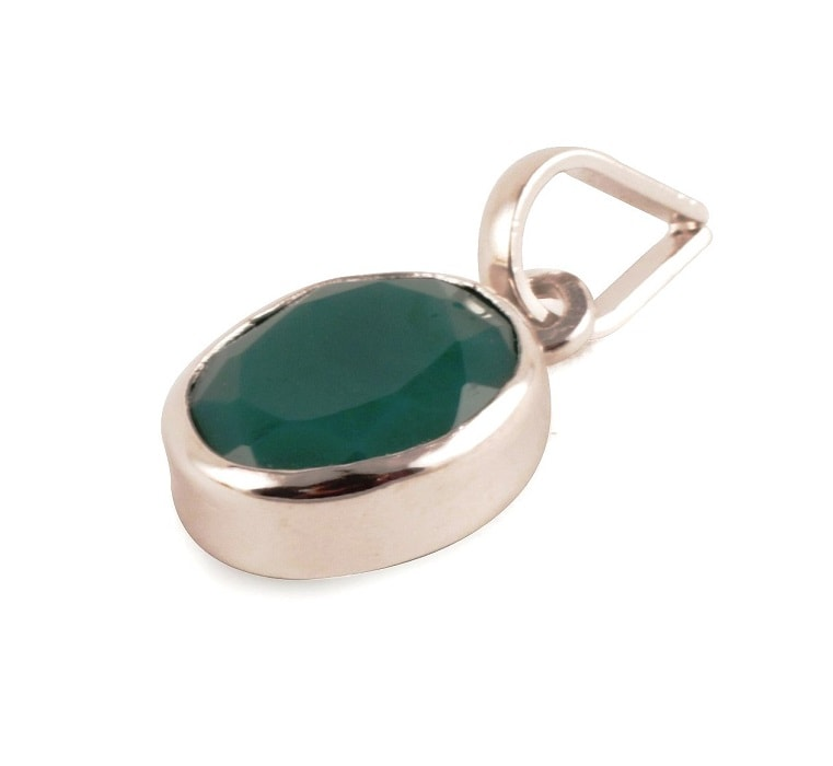 Numeroastro Natural & Original Emerald   Panna Gemstone Pendant In Pure Silver With Lab Certificate (5.5-6 Ct Approx) (1 Pc)