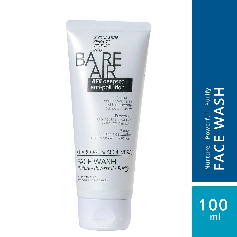 BareAir Charcoal & Aloe Vera Facewash Nurture-Powerful-Purify (100 ml)