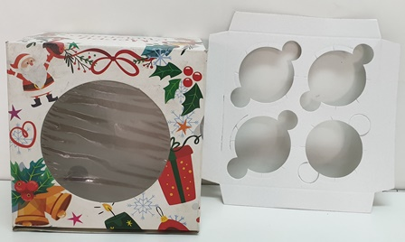 Merry Christmas 4 X4 Cup Cake Box