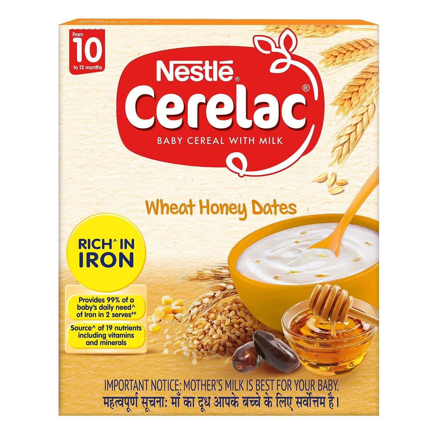 Nestlé CERELAC Fortified Baby Cereal With Milk, Wheat Honey Dates – From 10 Months, 300g BIB Pack