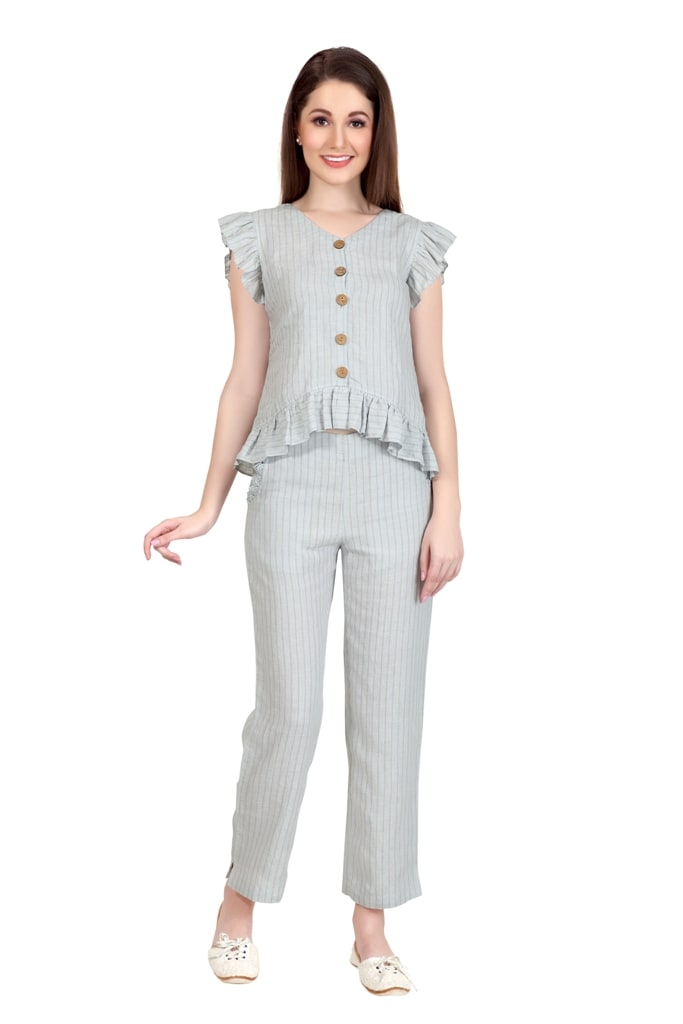 E222 Pearl Grey Button Down Top & Wide Leg Pants Co Ord Set (M,Grey)