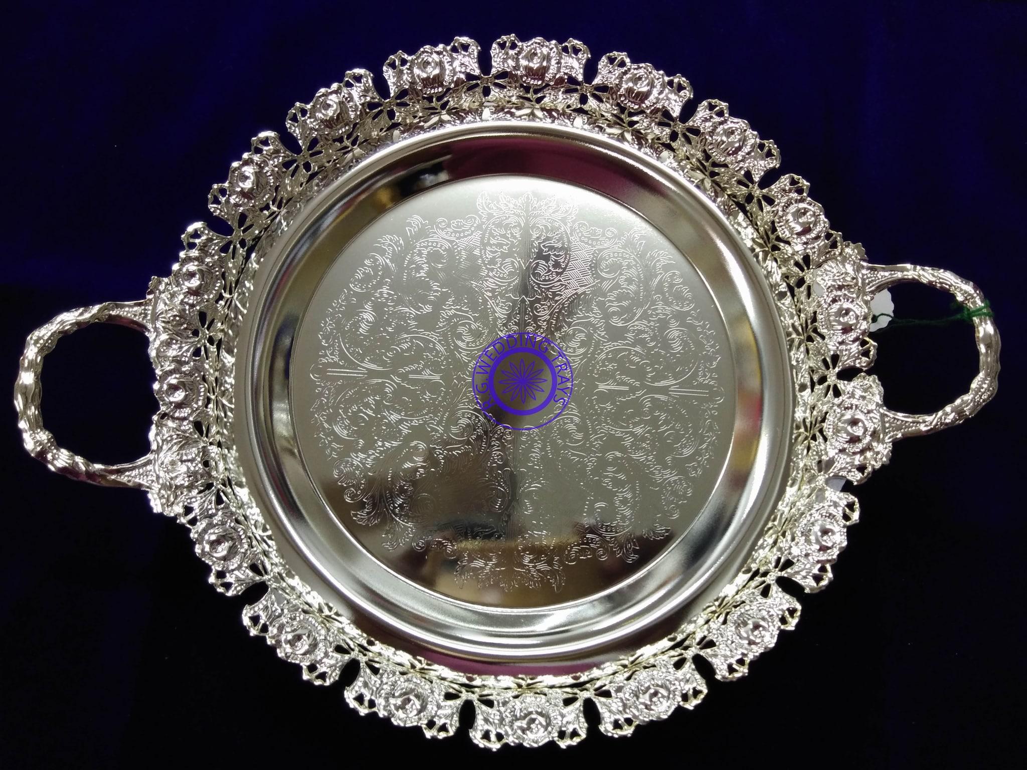 German Silver Round Tray With Handle 9 Inch German Silver Serving Tray Rg Wedding Trays Fancy Peelamedu Coimbatore Tamil Nadu