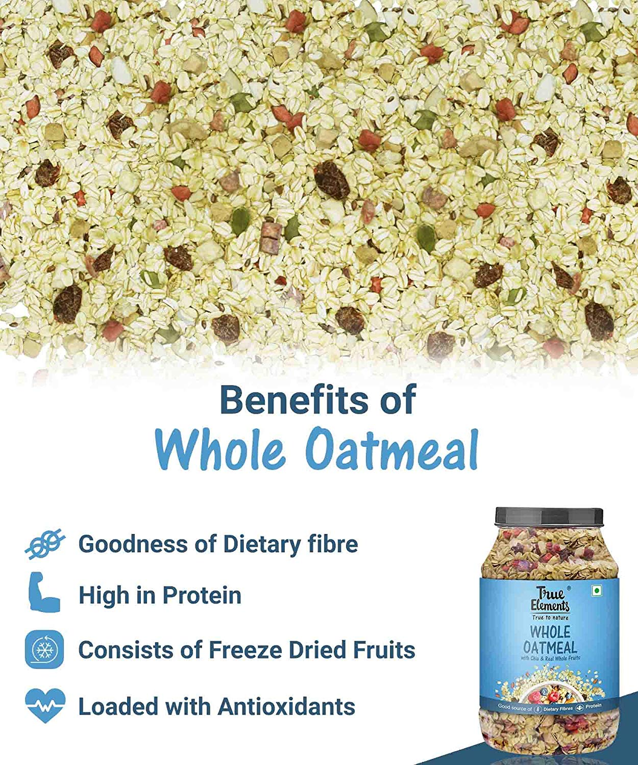 True Elements Whole Oatmeal With Chia And Real Whole Fruits 1 Kg