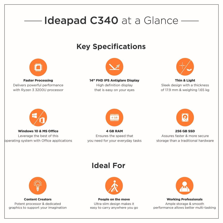 Lenovo Ideapad C340 AMD Ryzen 3 3200U 2 In 1 Convertible 14 Inch FHD Laptop (4GB/256GB SSD/Windows 10/MS Office/Platinum/1.65Kg)