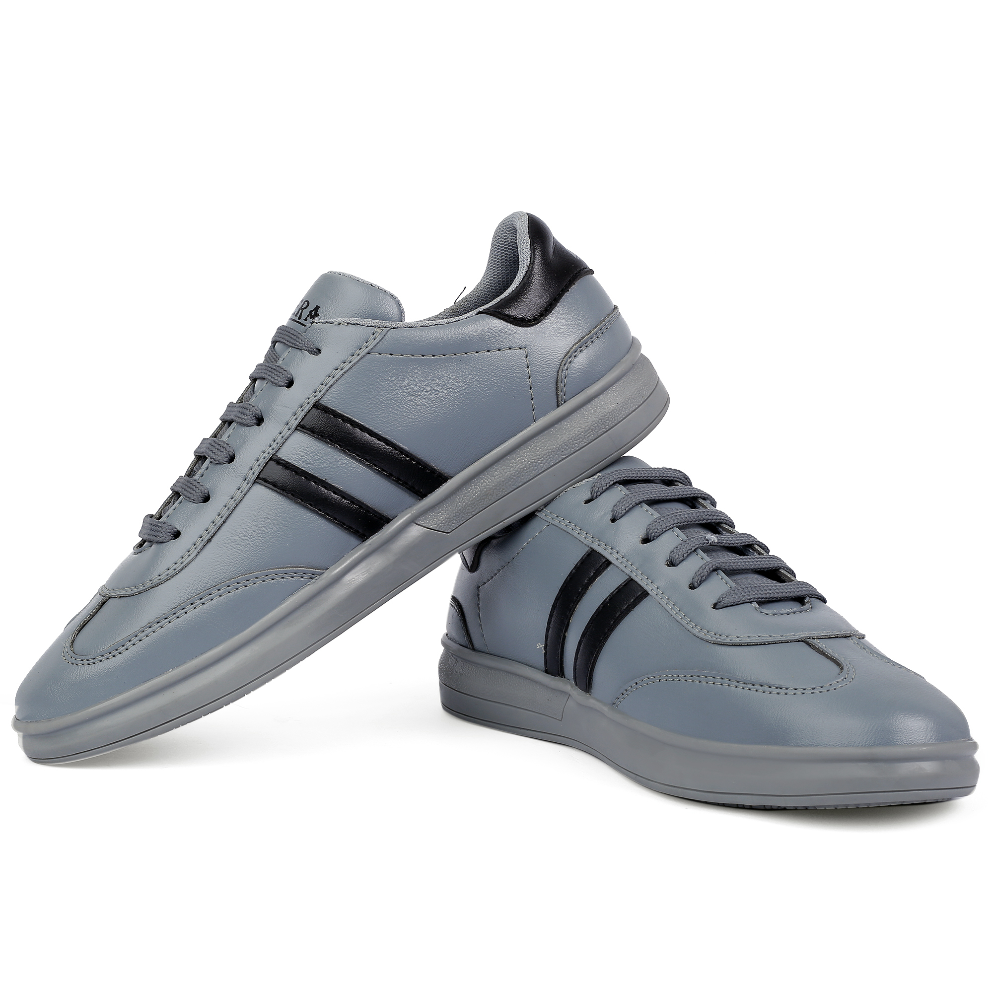 STERA MEN'S STYLISH & PARTYWEAR CORPUS HEAVY SYNTHETIC CANVAS SHOE NHT-CNVS-5001GREY (GREY, 6-10, 8 PAIR)