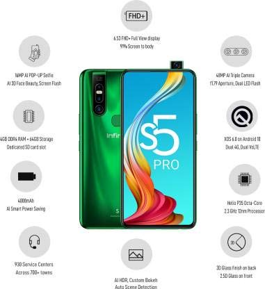 Infinix S5pro (4 GB RAM, 64GB ROM, Sea Blue)