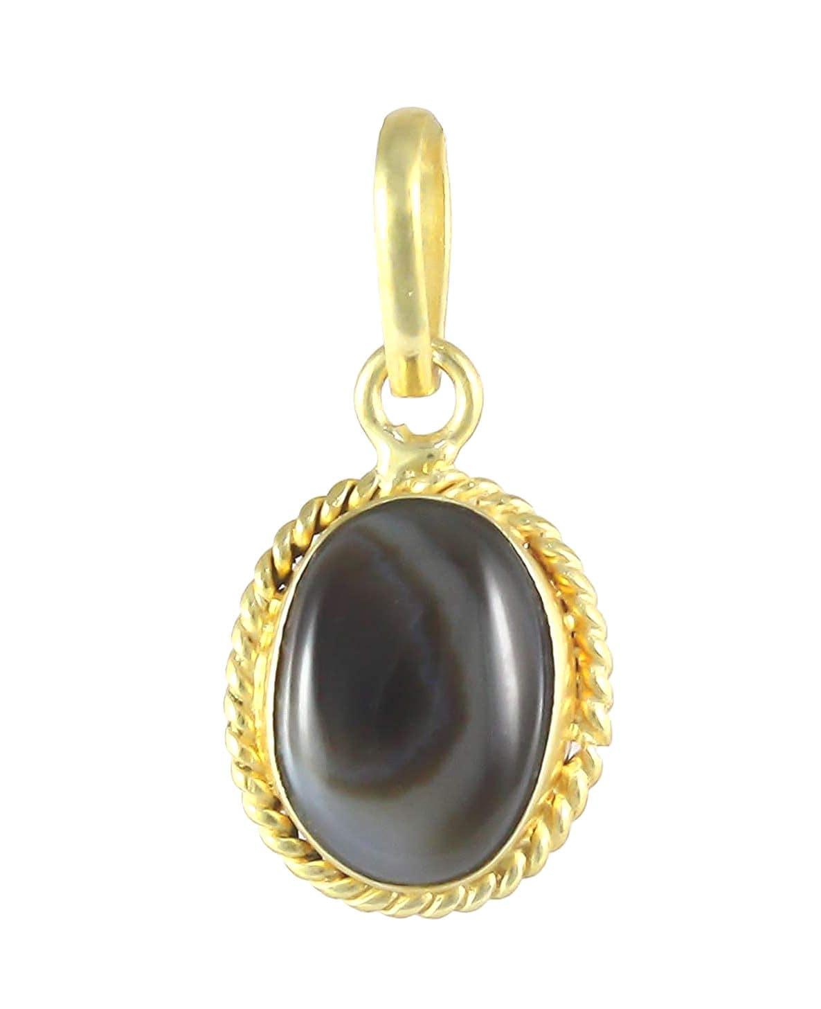 Numeroastro Natural & Original Sulemani Hakik | Black Agate Pendant In Ashtadhatu (1 Pc)