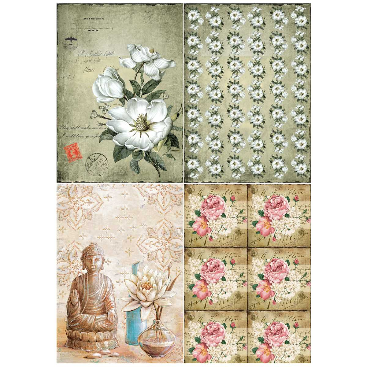 The Vintage Floral Paper Pack, Size: A4 24 Sheets (JPTVA4X24)