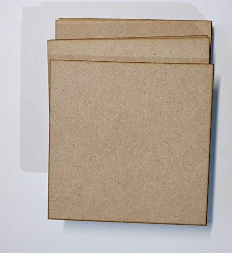 MDF Plate Square 4MM Size: 5X5 Inch Set Of 4 Pcs (MPS500)