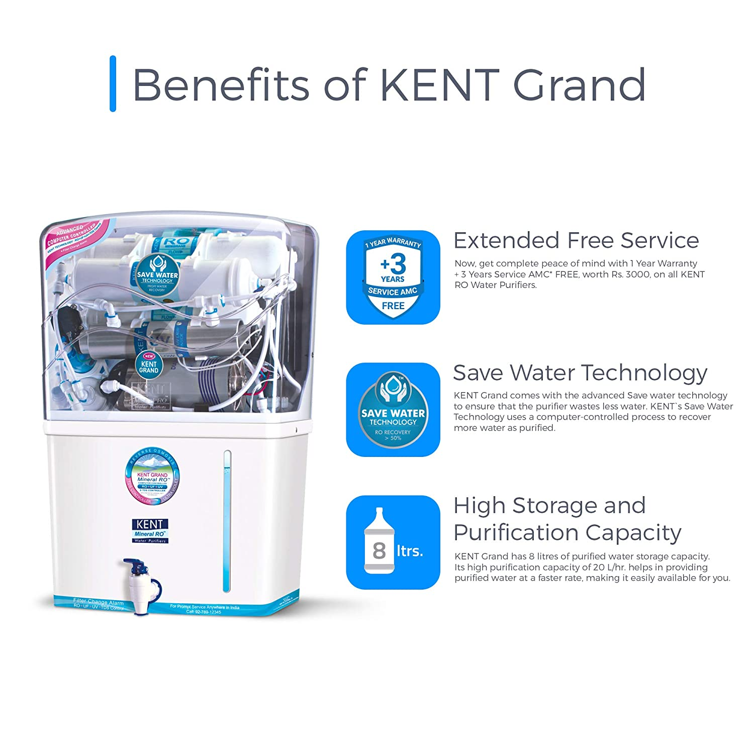 KENT New Grand 8-Litres Wall-Mountable RO + UV+ UF + TDS (White) 20 Litre/hr Water Purifier