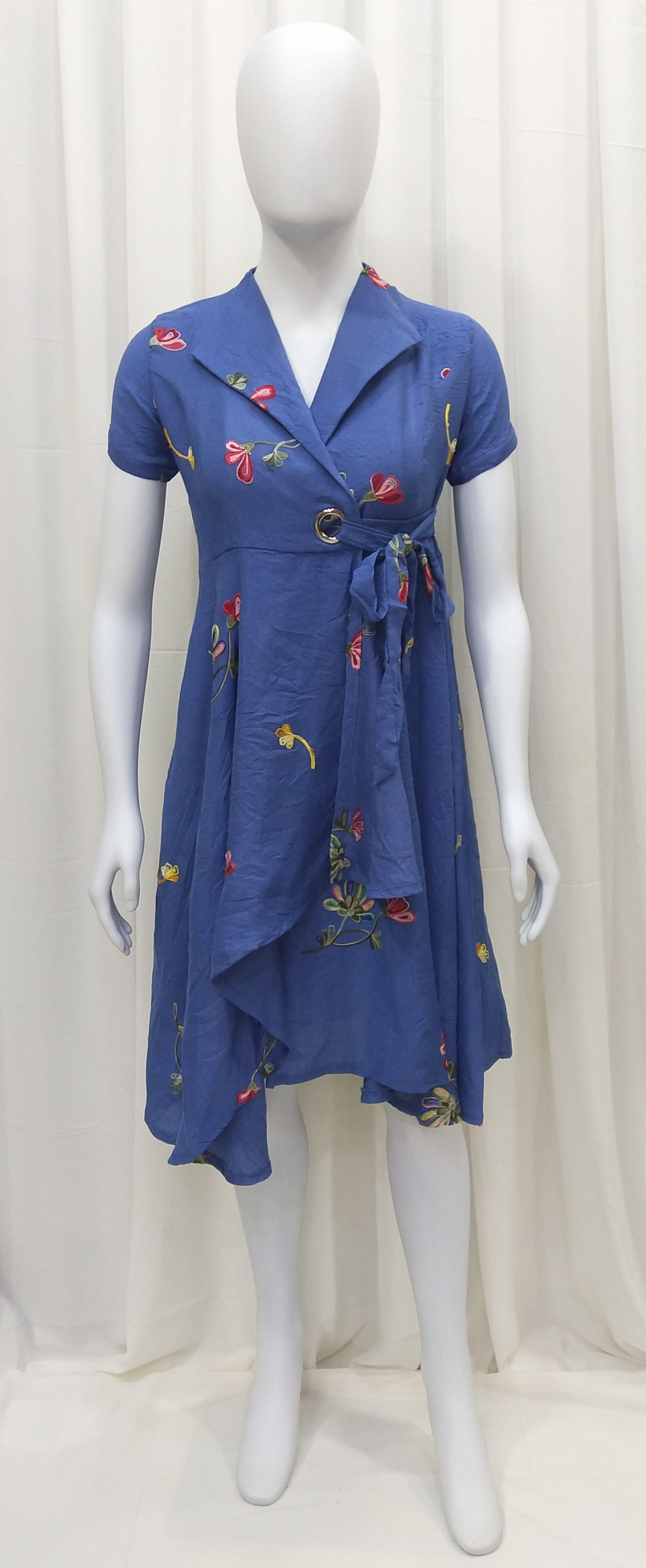 Floral Embroidery Wrap One Piece For Women (L, Blue Melange)
