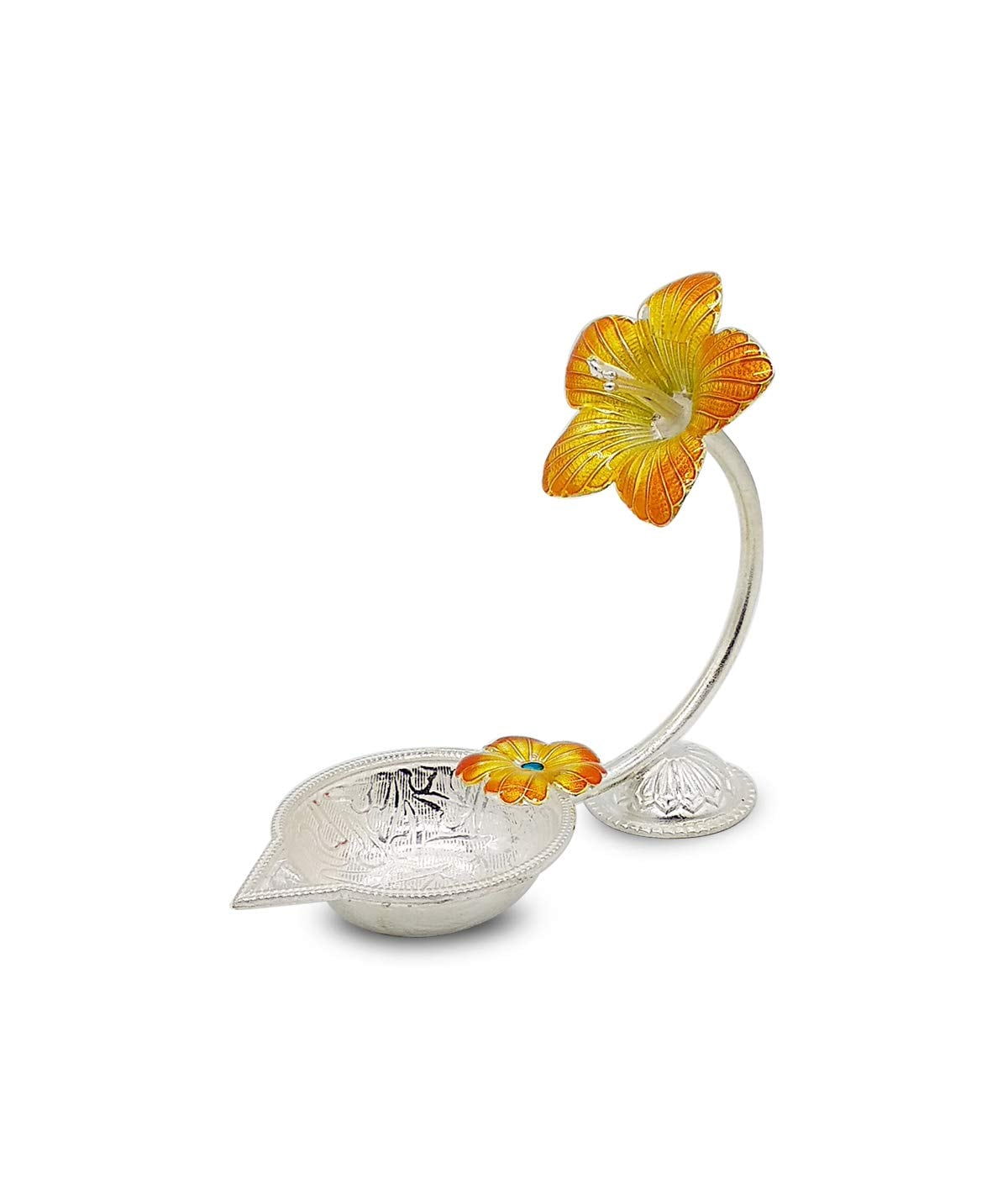Silver Hibiscus Flower Shape Diya (Yellow,27gm)