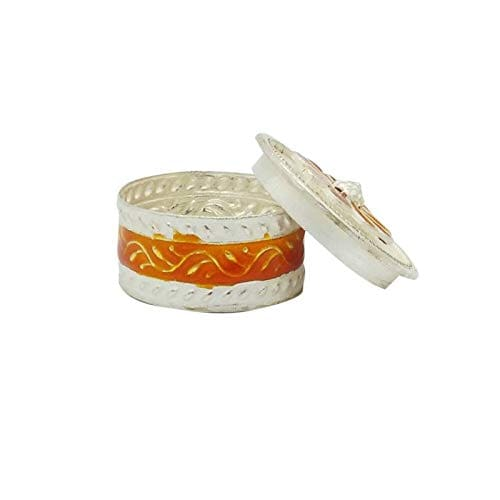 Silver Orange Flower Sindoor Dabbi/Box