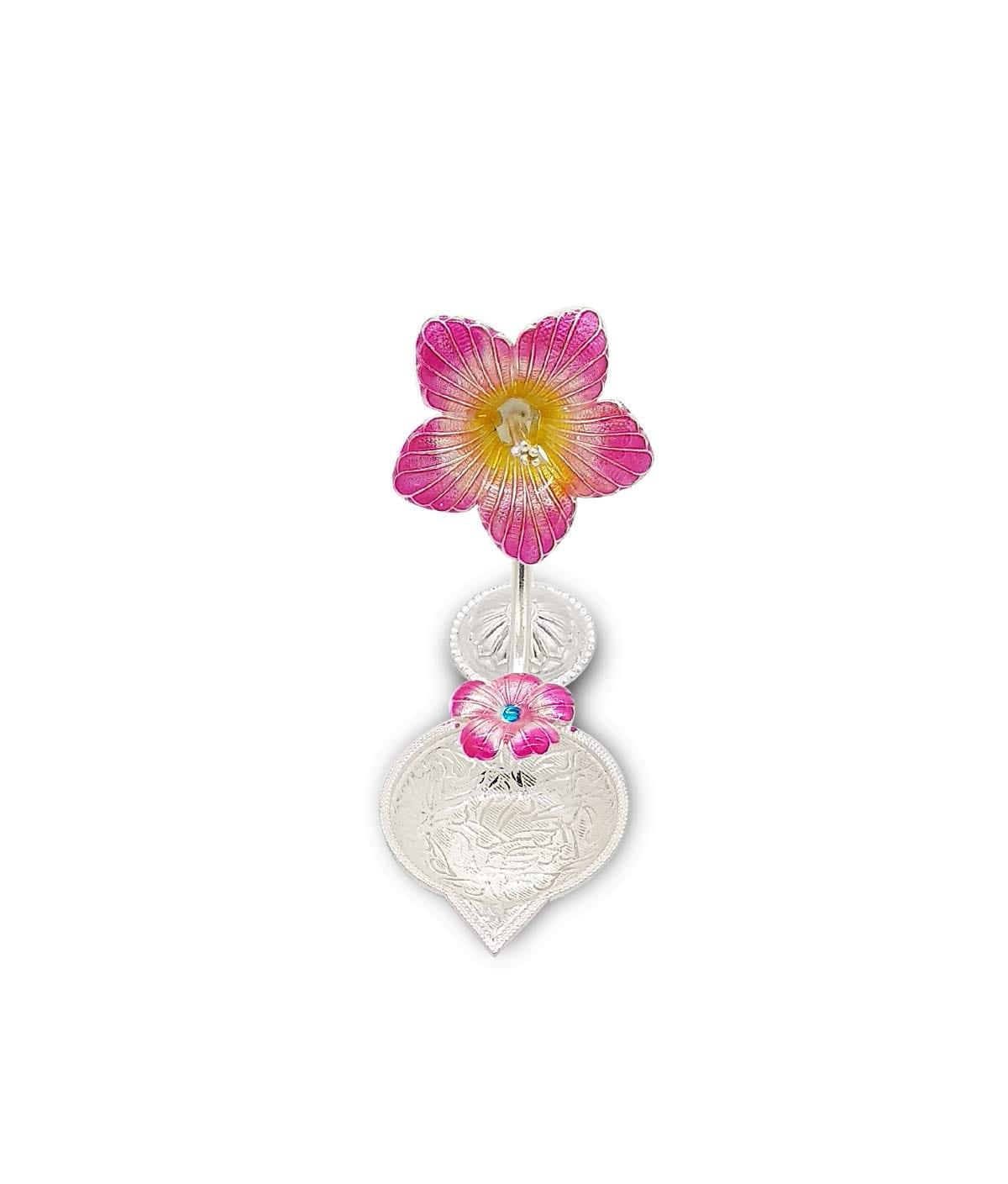 Silver Hibiscus Flower Shape Diya (Pink,27gm)