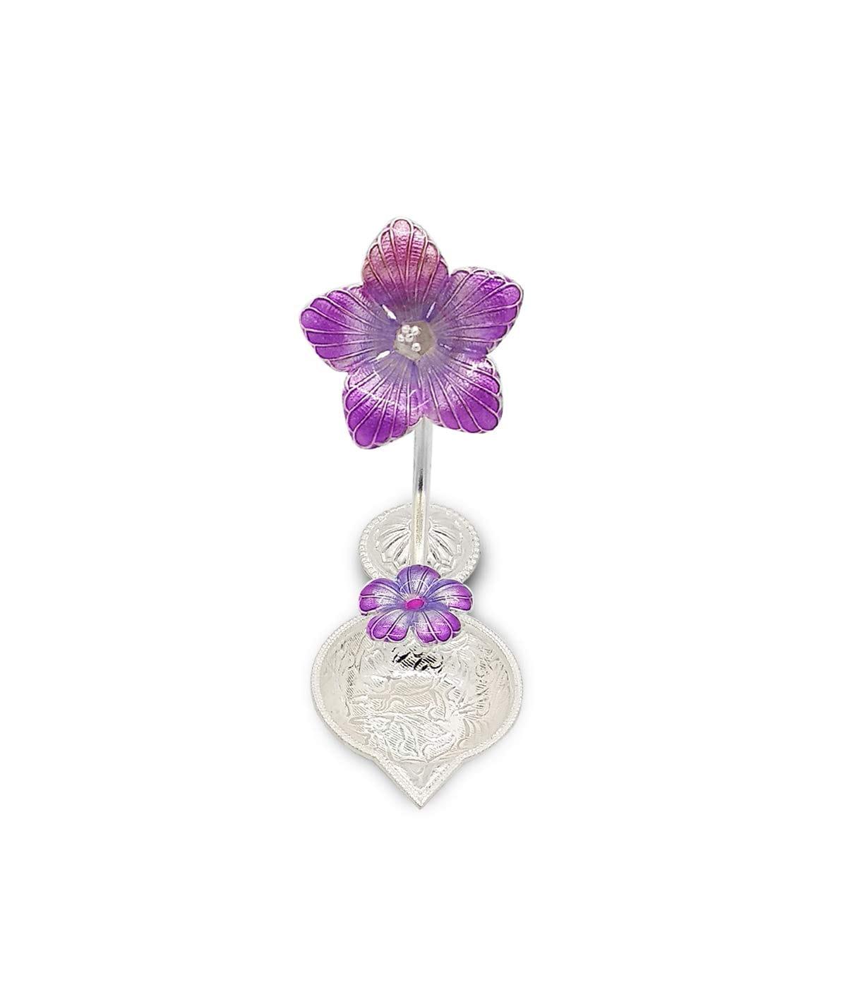 Silver Hibiscus Flower Shape Diya (Purple,35gm)