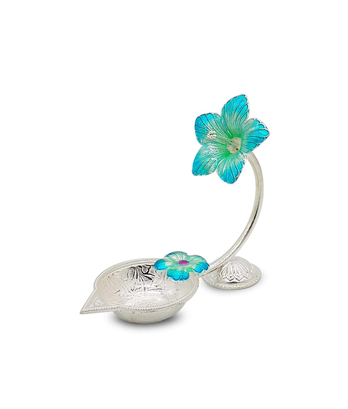 Silver Hibiscus Flower Shape Diya (Blue,15gm)