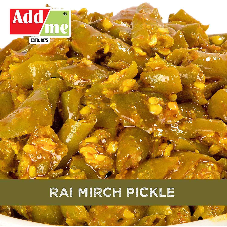 Add Me Green Chilli Pickles 500G In Mustard, Hot Mango Pickle 500Gm Pickel In Ginger Garlic Masala Glass Pack
