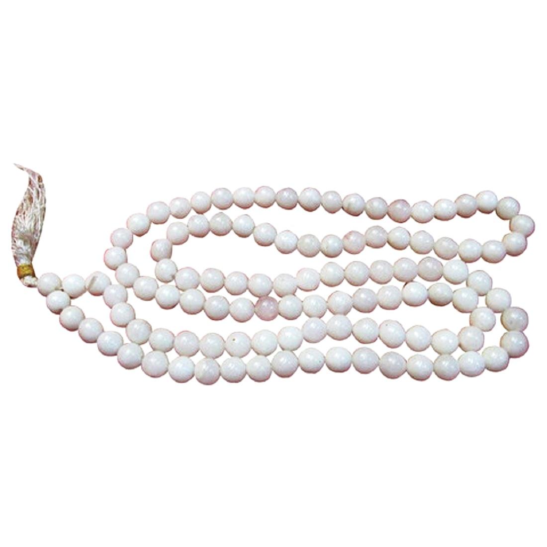 Numeroastro White Agate | Hakik Round Beads Hand Knotted Mala (109 Beads) (1 Pc)