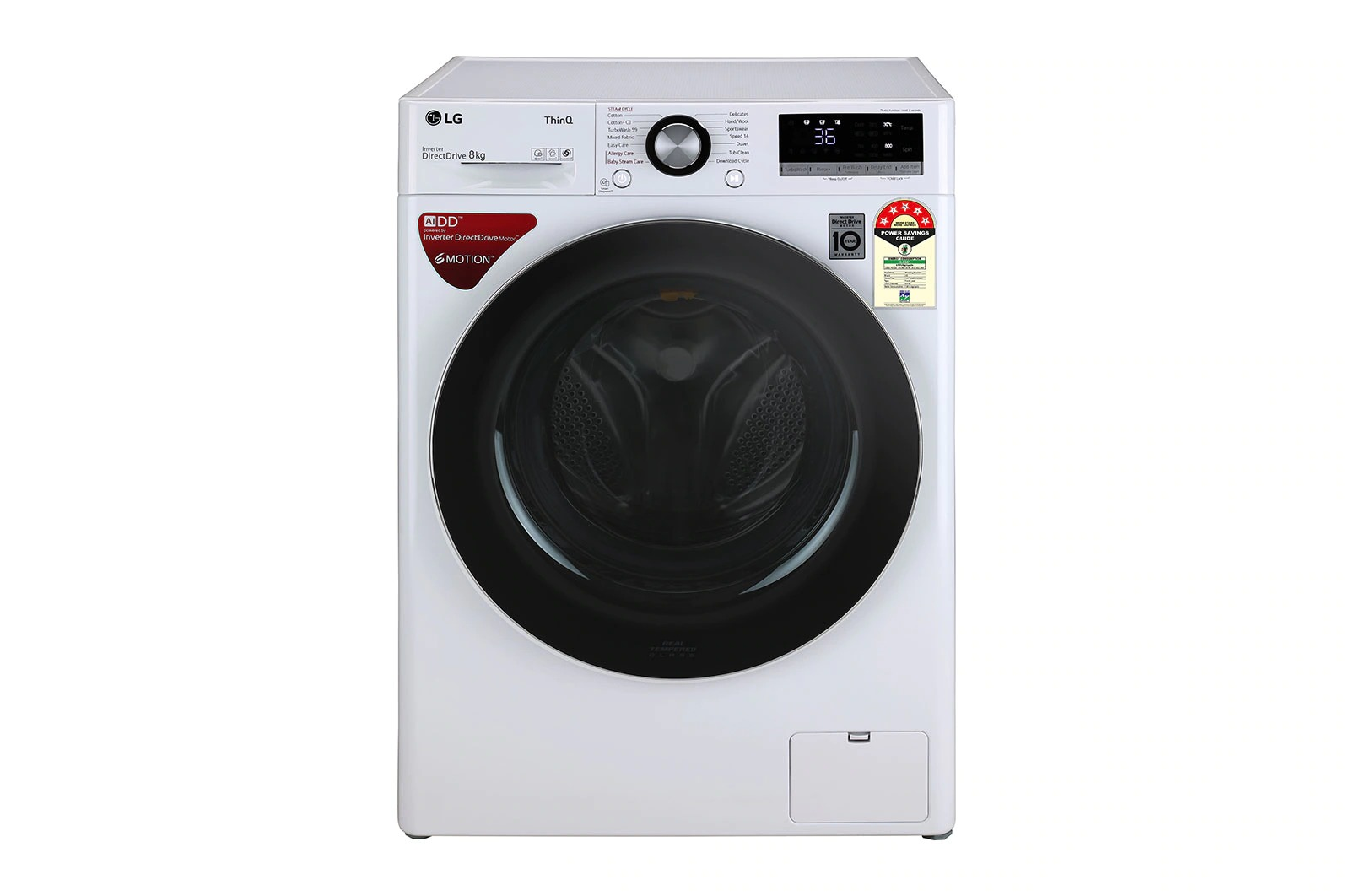 LG (FHV1408ZWW) 8.0Kg, AI Direct Drive™ Washer With Steam™ & TurboWash™