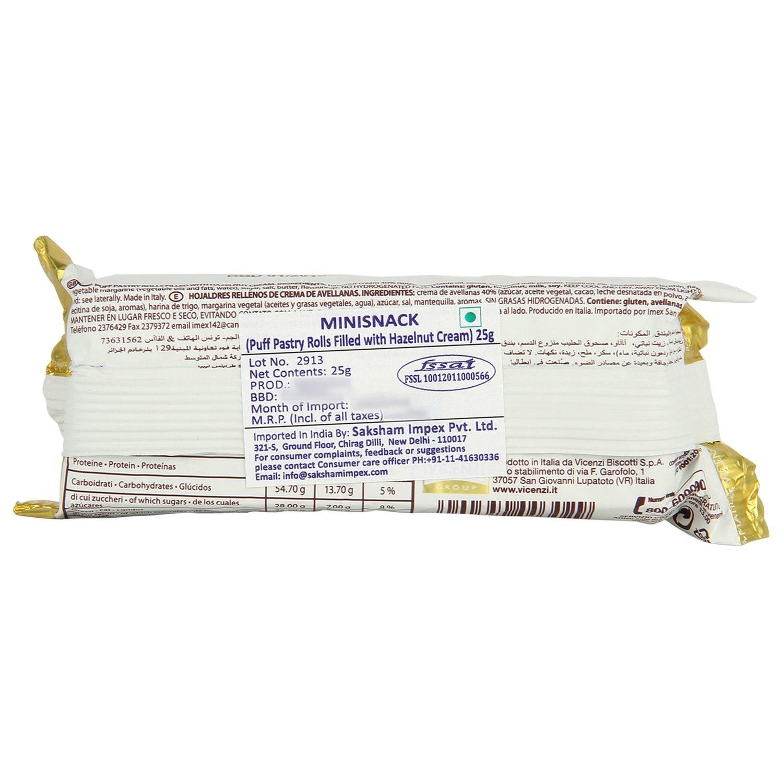 Matilde Vicenzi Minisnacks Puff Pastry Rolls Filled With Hazelnut Cream 25 Gm