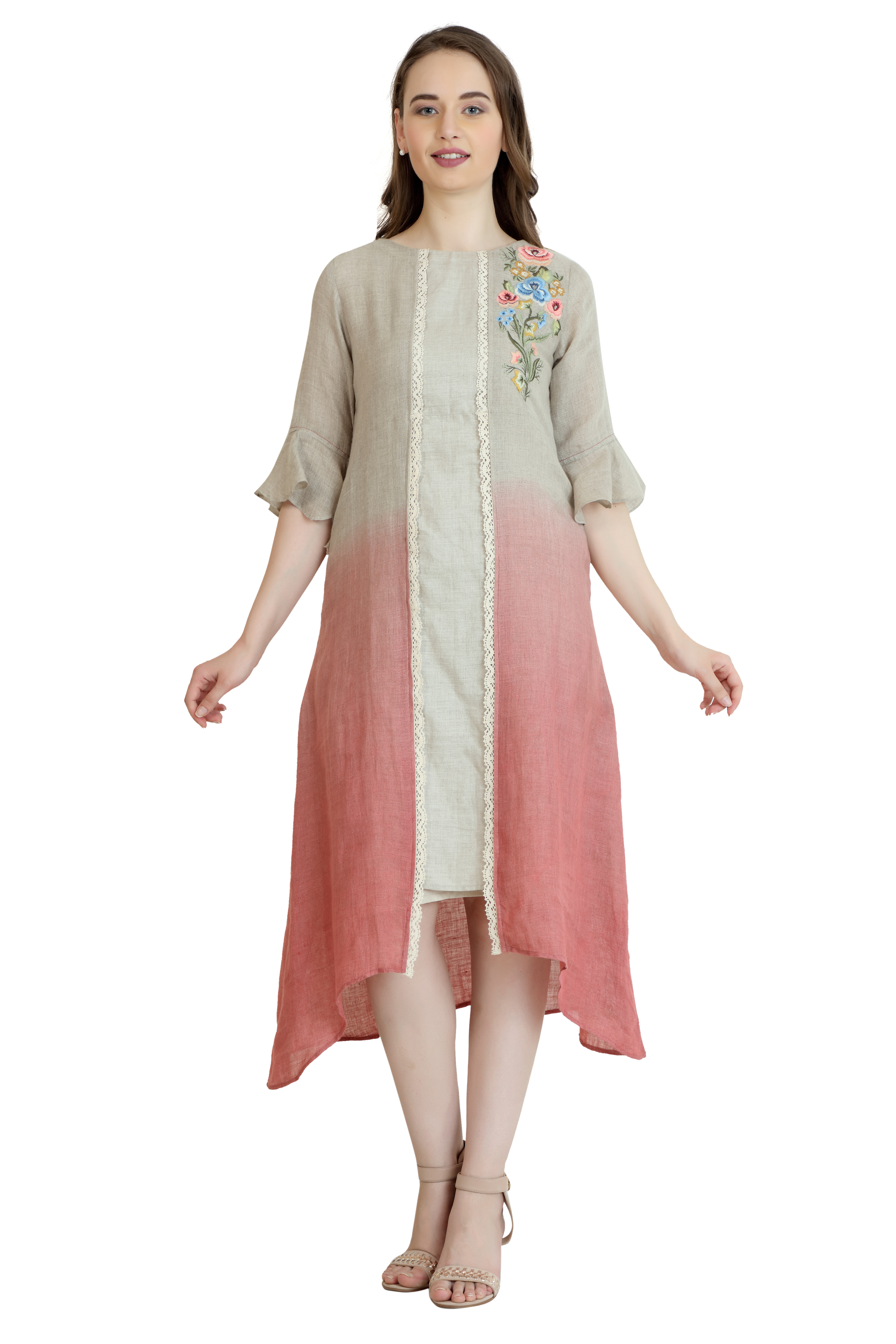 190144 Natural And Old Rose Ombre Linen Dress With Embroidered Motif & Lace Trimmings (L,Natural and Old Rose Ombre)