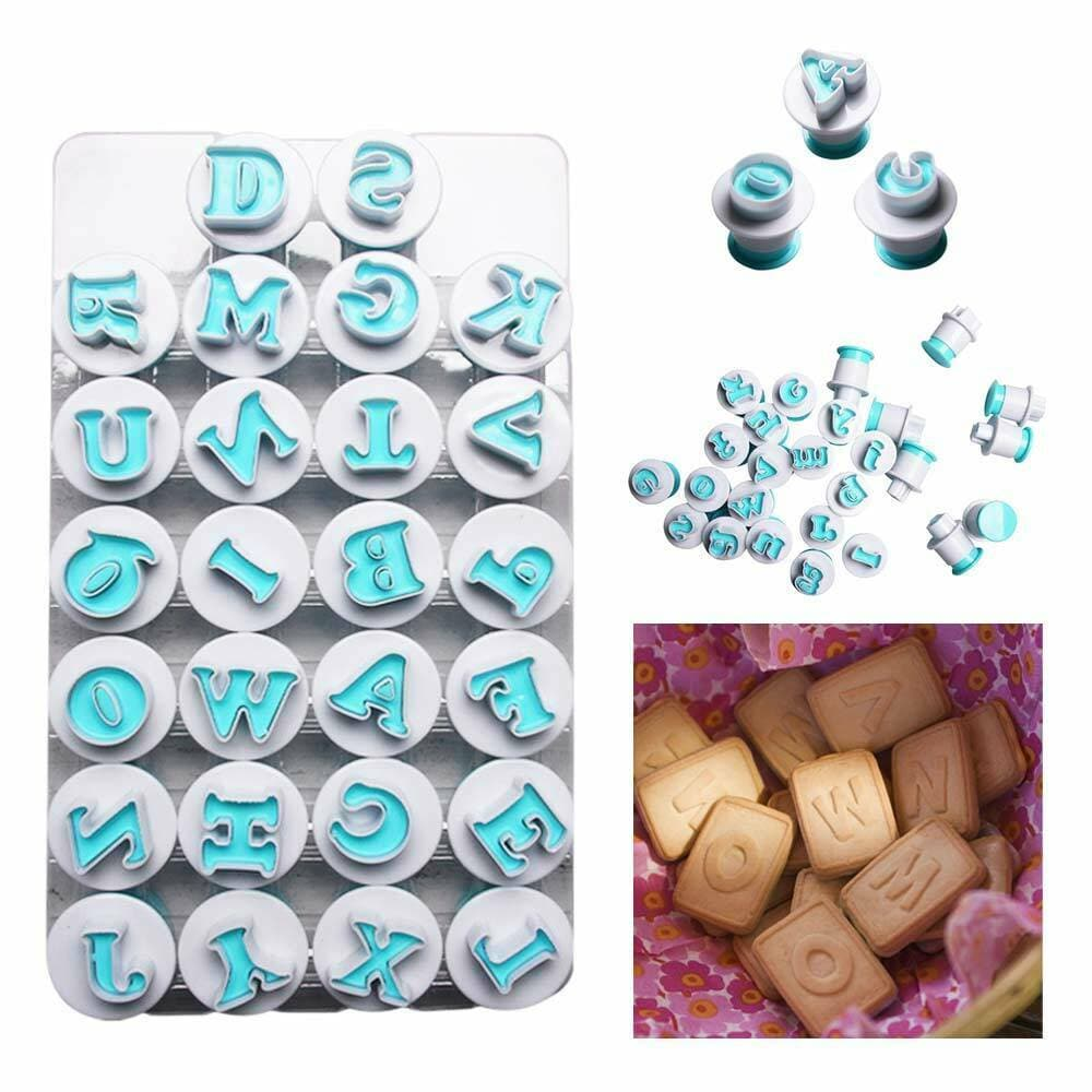 Alphabet Letters Capital Or Small Letters Any One Number Push Cutters Fondant Cookie Cake Decorating Set - Divena In