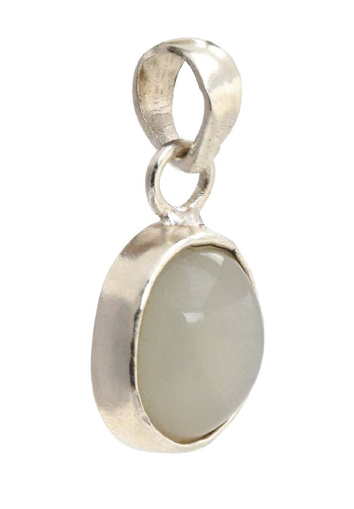 Numeroastro Natural & Original Moonstone Gemstone Pendant In Pure Silver With Lab Certificate (7-7.5 Ct Approx) (1 Pc)