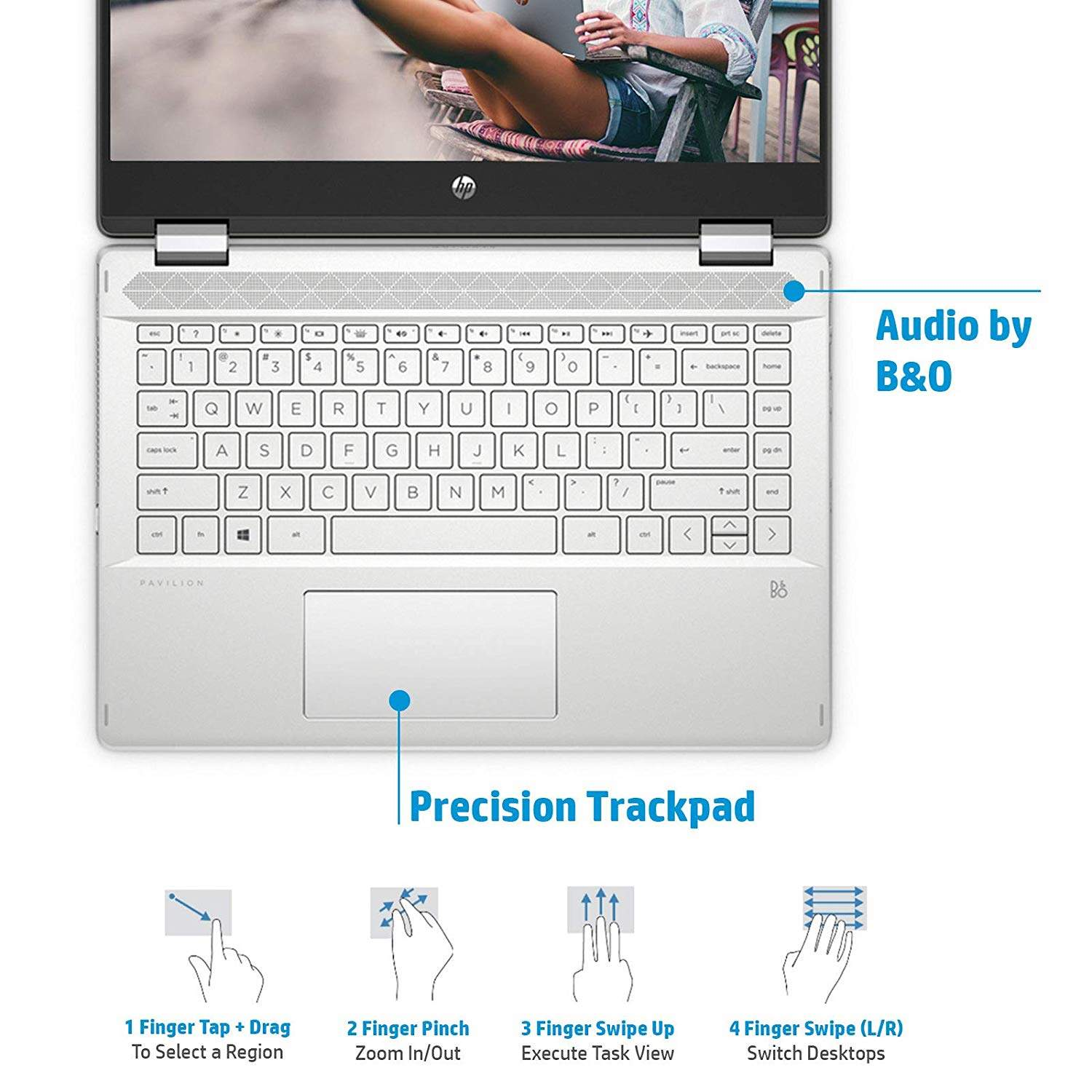 HP Pavilion X360 Core I3 10th Gen 14- FHD Touchscreen 2-in-1 Alexa Enabled Laptop (4GB/1TB HDD + 256GB SSD/Windows 10/MS Office/Inking Pen/Natural Silver/1.59 Kg), 14-dh1008TU