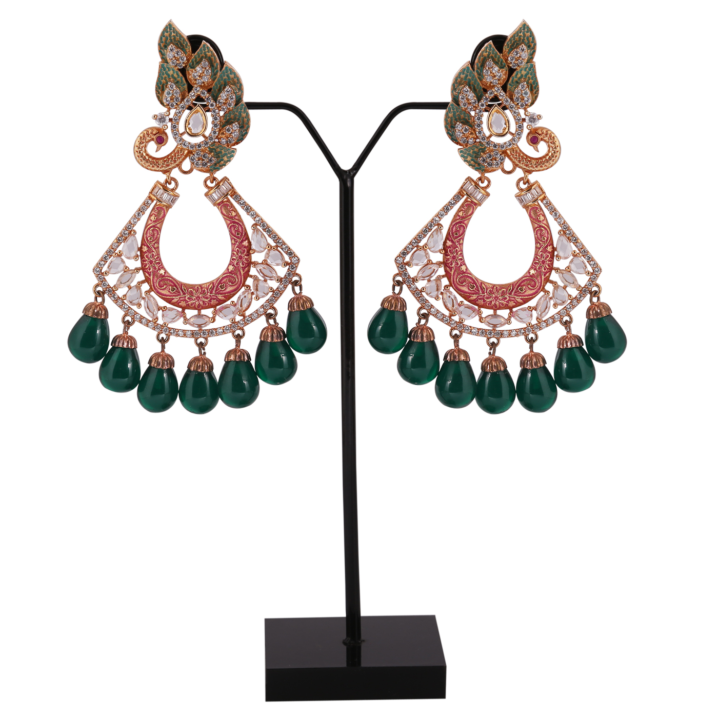 E20 - Peacock Colorful Mina American Diamond Earrings With Green Droplets
