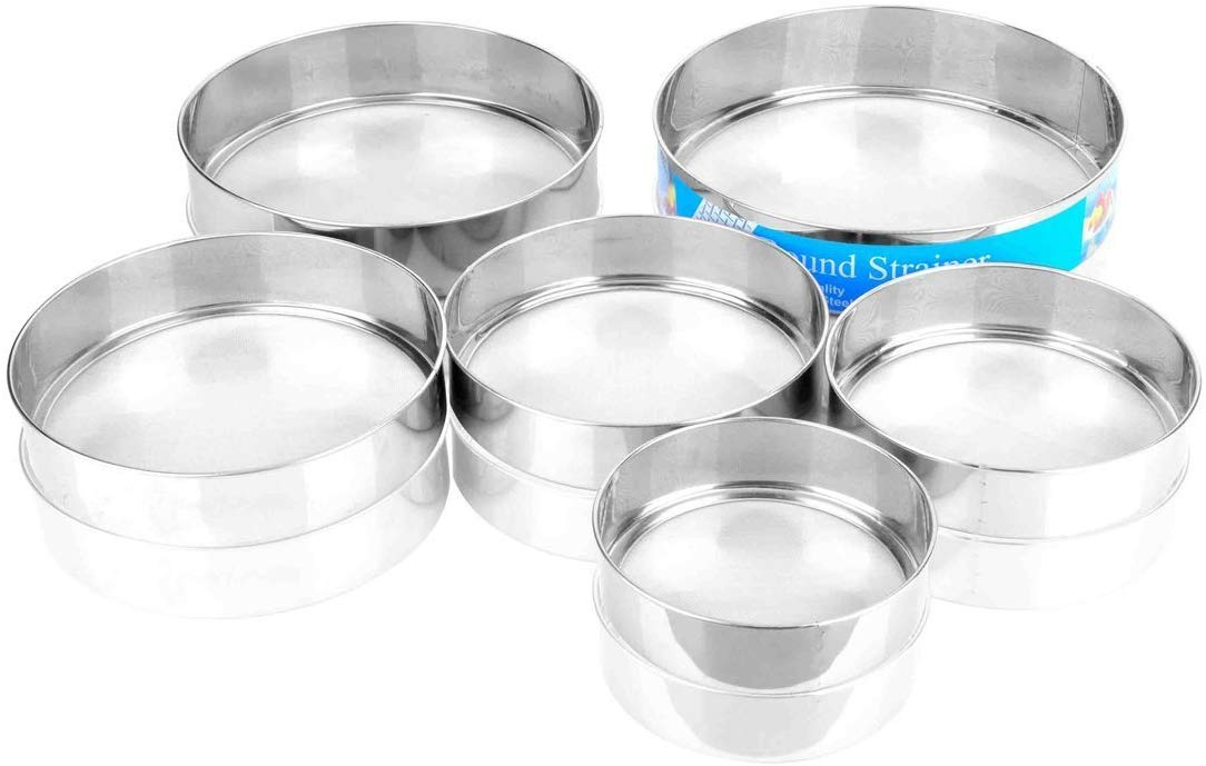 Professional Round Stainless Steel Strainer Set Of 6