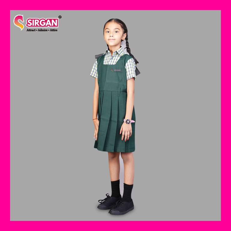 SirganTN Govt 1- 5th Std Grade Bottle Green Colour Pinafore (4-5 Years)