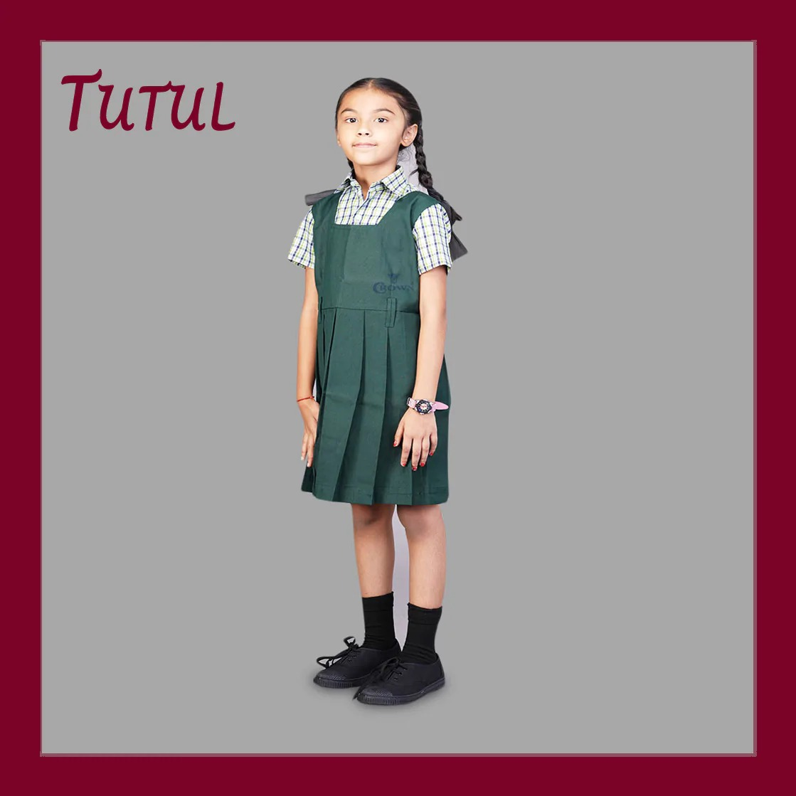 Tutul TN Govt 1 - 5th Std Bottle Green Colour Pinafore (4-5 Years)