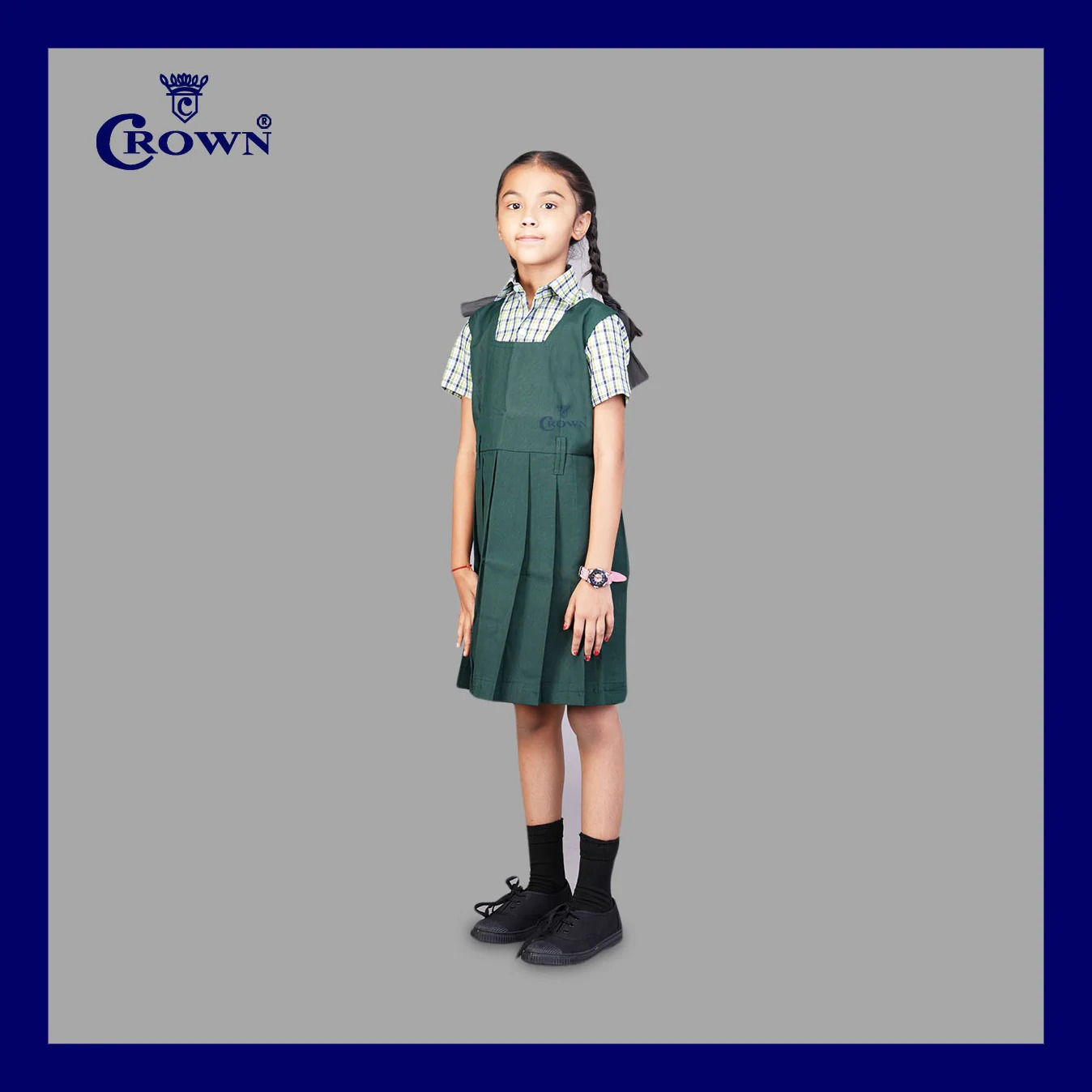 Crown TN Govt 1 - 5thStd Bottle Green Colour Pinafore (8-9 Years)