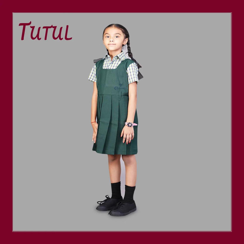 Tutul TN Govt 1 - 5th Std Bottle Green Colour Pinafore (4-5 Years)