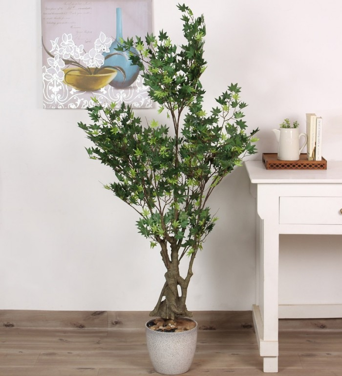 GREEN POLYESTER 620 LEAVES ARTIFICIAL JAPANESE MAPLE FLOOR PLANT WP84