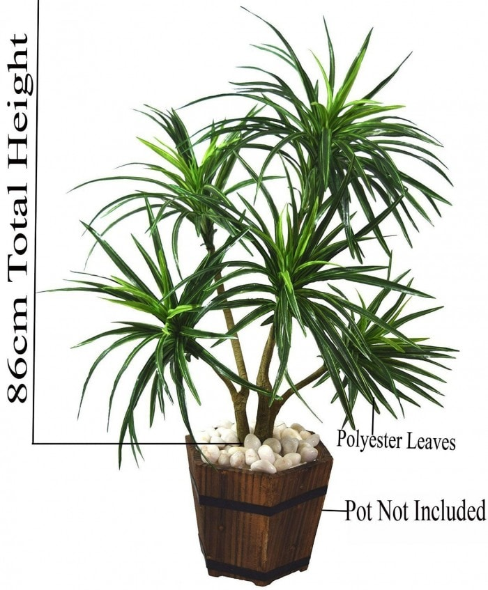 92CM TALL DECORATIVE ARTIFICIAL DRACAENA PLANT WITHOUT POT (220 LEAVES, 5 BRANCHES, GREEN) WP14