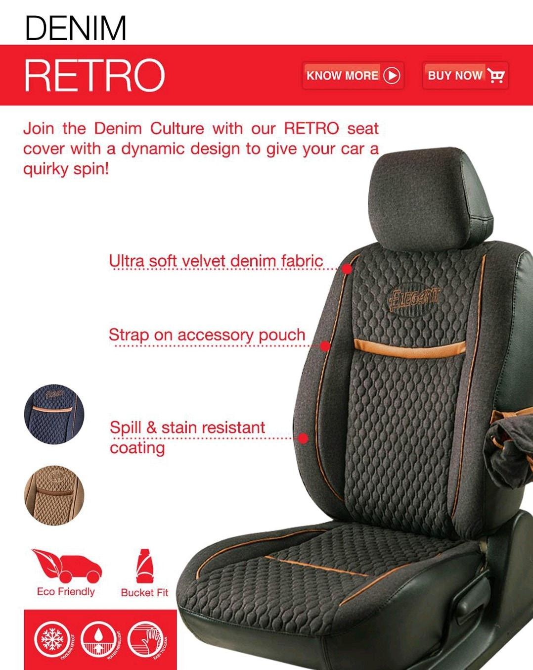 Elegant Fabric Seat Cover Baleno 15 Denim Retro BLK