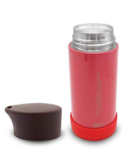 Silver Kids Feeding Bottle With Cover Lid (Red)