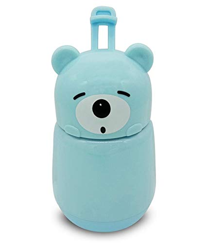Silver Kids Feeding Bottle With Cover Lid (Blue)