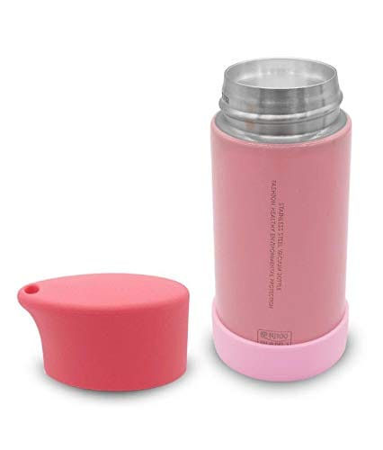 Silver Kids Feeding Bottle With Cover Lid (Pink)