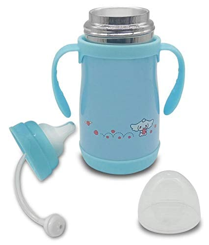 Silver Kids Feeding Bottle With High Quality Silicon Nipple And Cover Lid (Blue)