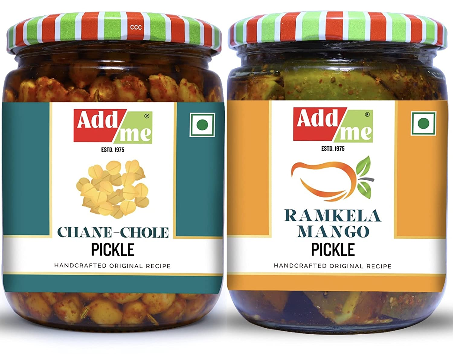 Add Me Mango Pickle And Chole Chana Pickles 500gm Mixed Combo Offer Chickpeas Pickle Less Oil Aam Ka Achar Punjabi Achar Glass Pack